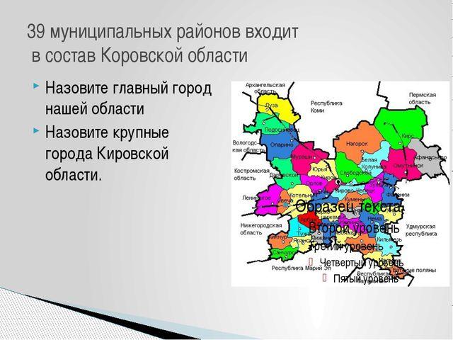 Назовите главный город нашей области Назовите крупные города Кировской област...
