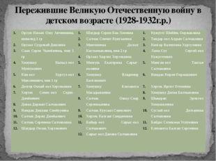 Пережившие Великую Отечественную войну в детском возрасте (1928-1932г.р.) Орт