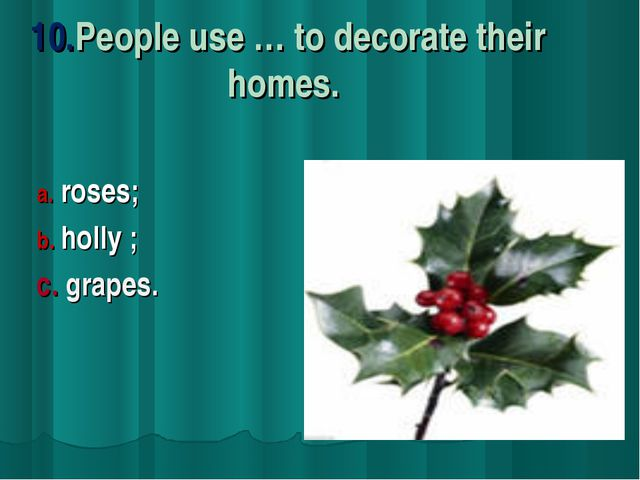 10.People use … to decorate their homes. roses; holly ; c. grapes.