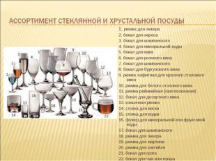 1. рюмка для ликера 2. бокал для хереса 3. бокал для шампанского 4. бокал для