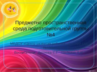 Предметно пространственная среда подготовительной группы №4 МБДОУ «Центр разв