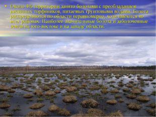 Около 4% территории занято болотами с преобладанием низинных торфяников, пита