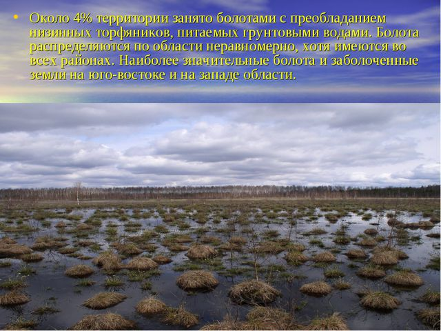 Около 4% территории занято болотами с преобладанием низинных торфяников, пита...