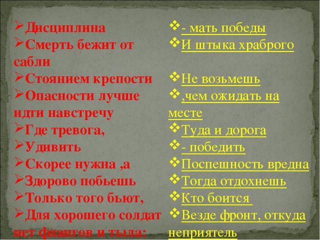 Дисциплина Смерть бежит от сабли Стоянием крепости Опасности лучше идти навст...