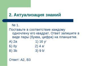 2. Актуализация знаний № 1. Поставьте в соответствие каждому одночлену его кв