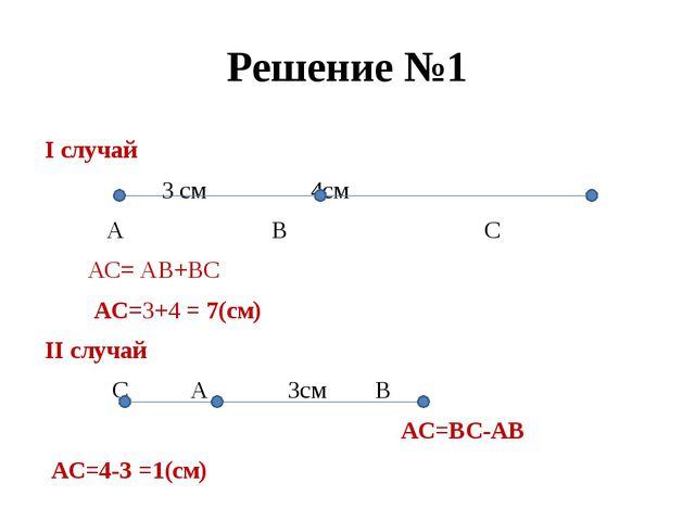 Решение №1 I случай 3 см 4см А В С АС= АВ+ВС АС=3+4 = 7(см) II случай С А 3см...