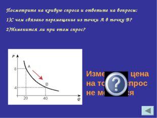 Посмотрите на кривую спроса и ответьте на вопросы: С чем связано перемещение