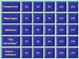 """100 Факторы Законы """"На засыпку"""" Верно – неверно Определения 50 90 150 80 90 1"""