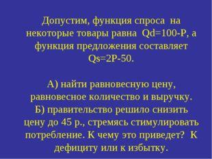 Допустим, функция спроса на некоторые товары равна Qd=100-P, а функция предло