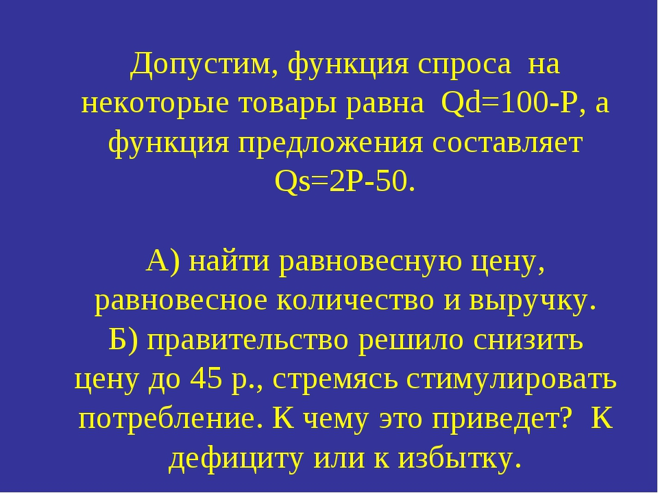 Допустим, функция спроса на некоторые товары равна Qd=100-P, а функция предло...