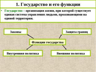 1. Государство и его функции Государство – организация жизни, при которой сущ
