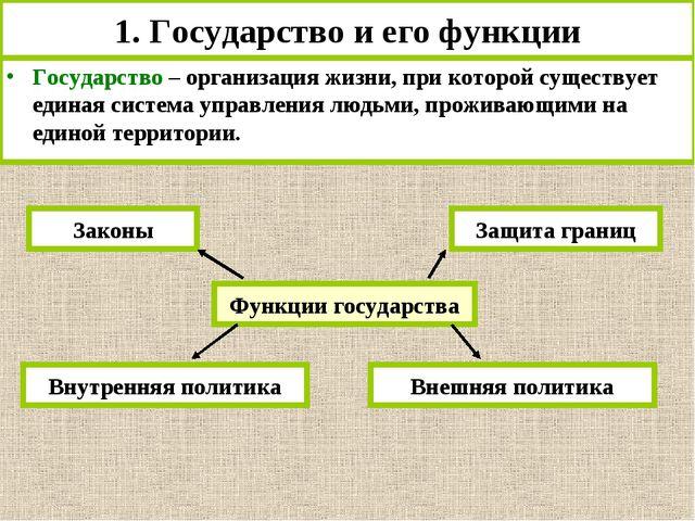 1. Государство и его функции Государство – организация жизни, при которой сущ...