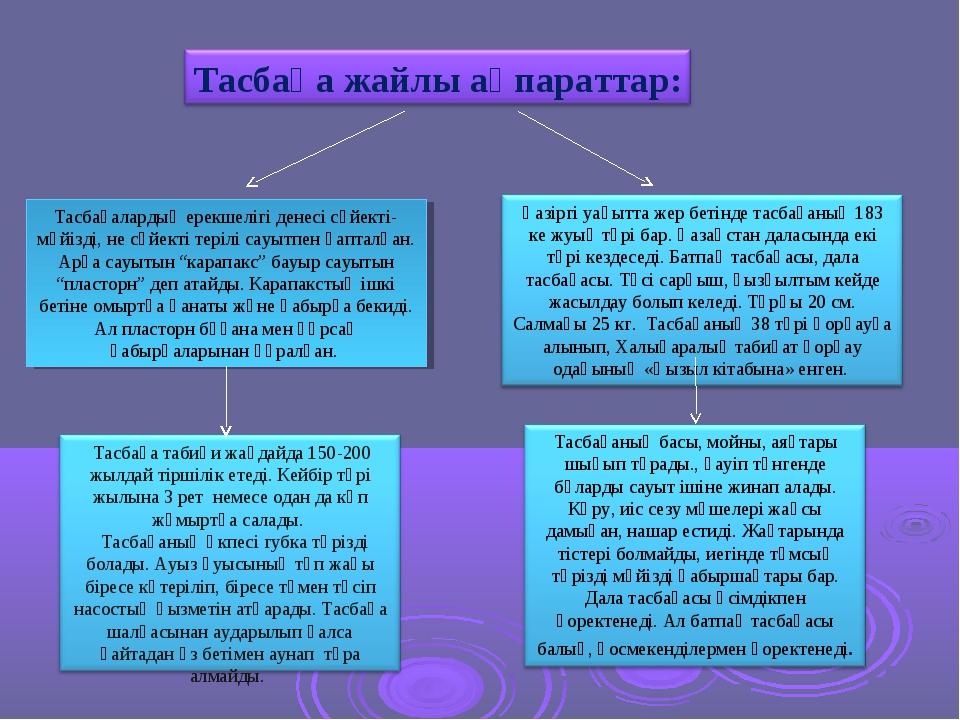 Тасбақалардың ерекшелігі денесі сүйекті-мүйізді, не сүйекті терілі сауытпен қ...