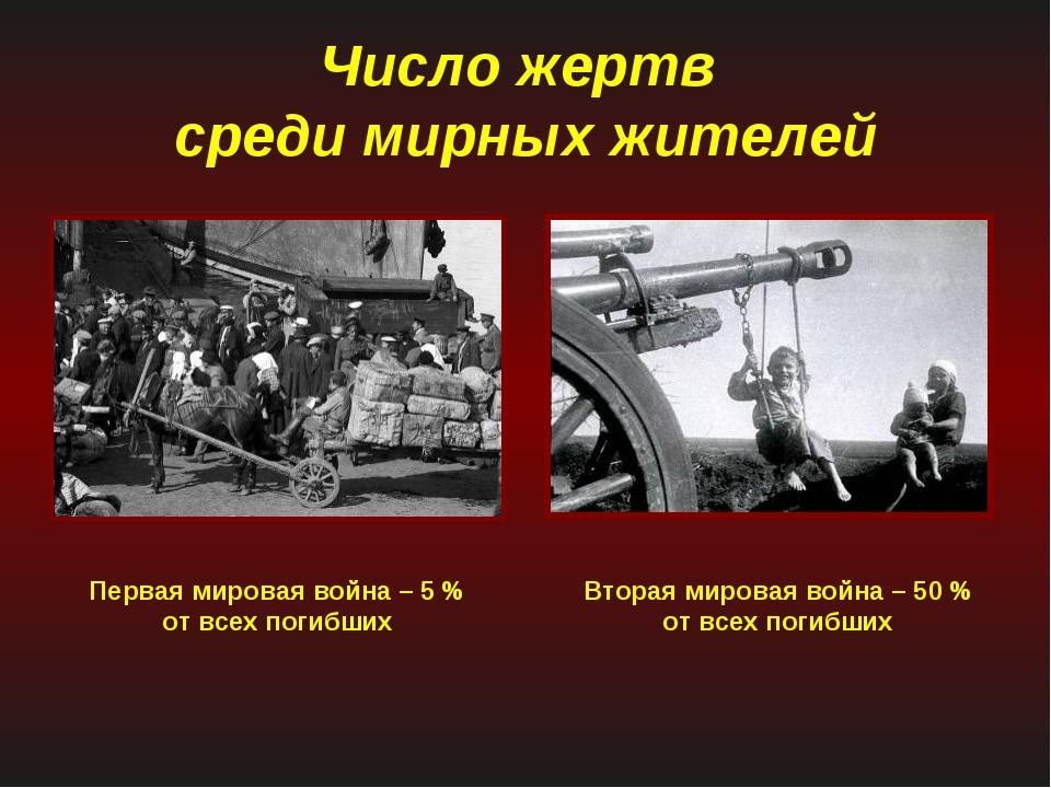 Число жертв среди мирных жителей Первая мировая война – 5 % от всех погибших...