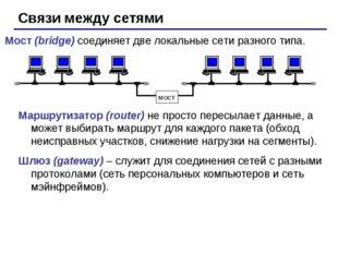Связи между сетями Мост (bridge) соединяет две локальные сети разного типа. м