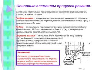 Основные элементы процесса резания. Основными элементами процесса резания явл