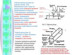 Работа резца похожа на работу клина. Под действием силы Р (рис.2) резец своей