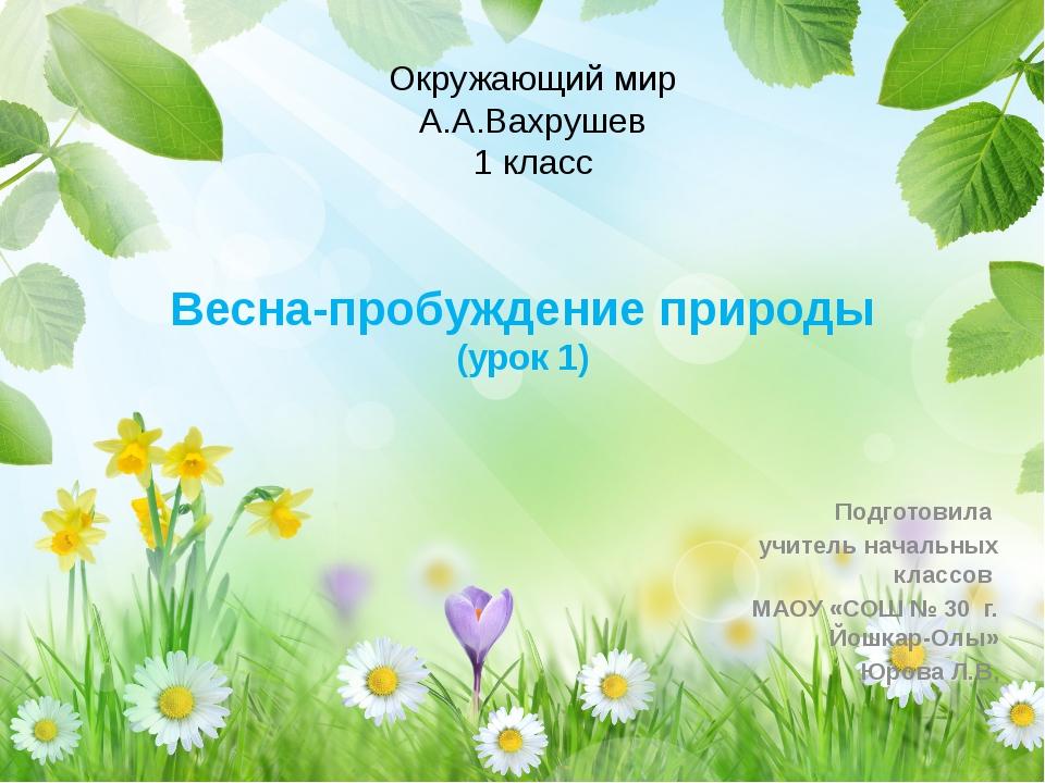 Весна-пробуждение природы (урок 1) Подготовила учитель начальных классов МАОУ...