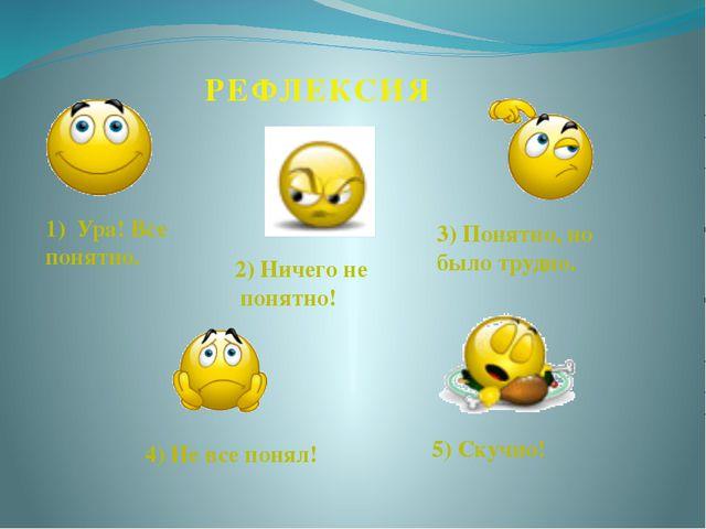 1) Ура! Все понятно. 2) Ничего не понятно! 3) Понятно, но было трудно. 4) Не...
