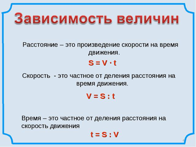 * Расстояние – это произведение скорости на время движения. S = V ∙ t Скорос...
