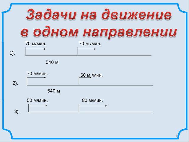 * 540 м 70 м/мин. 70 м /мин. 1). 2). 70 м/мин. 60 м /мин. 540 м 3). 50 м/мин...