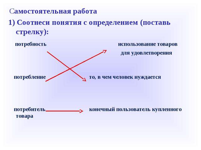 Самостоятельная работа 1) Соотнеси понятия с определением (поставь стрелку)...