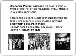 Сословия России в начале XX века: дворяне, духовенство, почётные граждане, ку