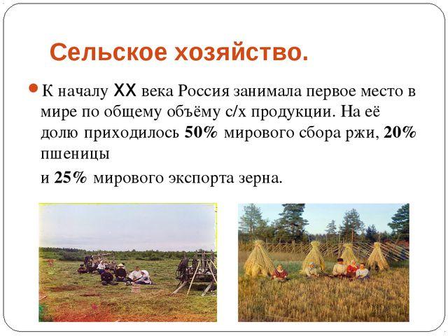 Сельское хозяйство. К началу XX века Россия занимала первое место в мире по о...