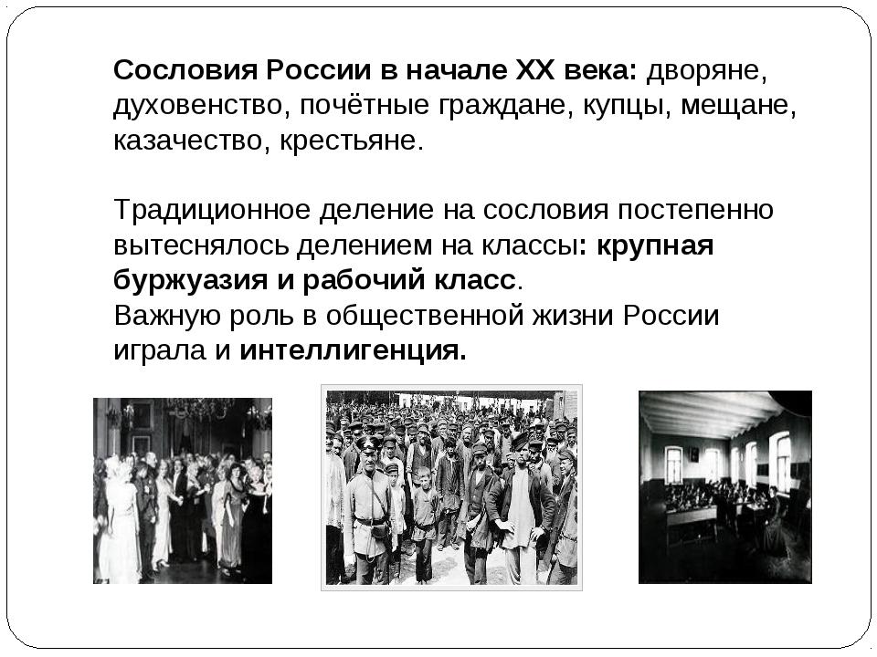Сословия России в начале XX века: дворяне, духовенство, почётные граждане, ку...