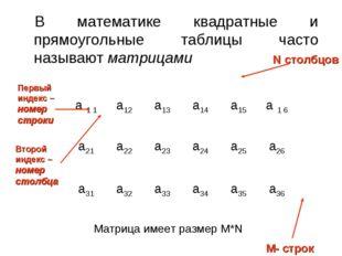 В математике квадратные и прямоугольные таблицы часто называют матрицами Перв