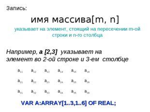 Запись: имя массива[m, n] указывает на элемент, стоящий на пересечении m-ой с