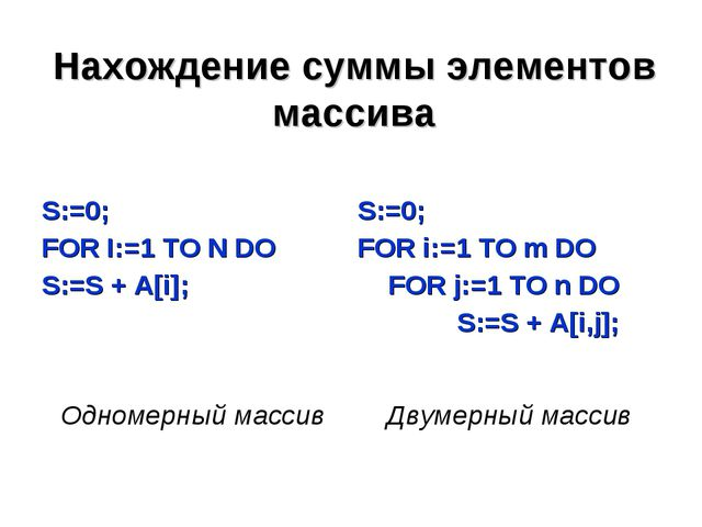 Нахождение суммы элементов массива S:=0; FOR I:=1 TO N DO S:=S + A[i];S:=0;...