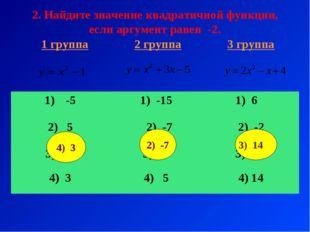 2. Найдите значение квадратичной функции, если аргумент равен -2. 2) -7 3) 14