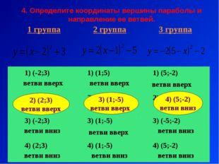 4. Определите координаты вершины параболы и направление ее ветвей. 2) (2;3) в