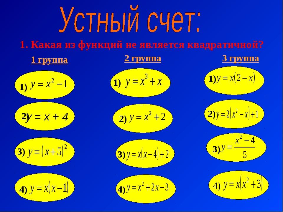 1. Какая из функций не является квадратичной? 1 группа 2 группа 3 группа у =...