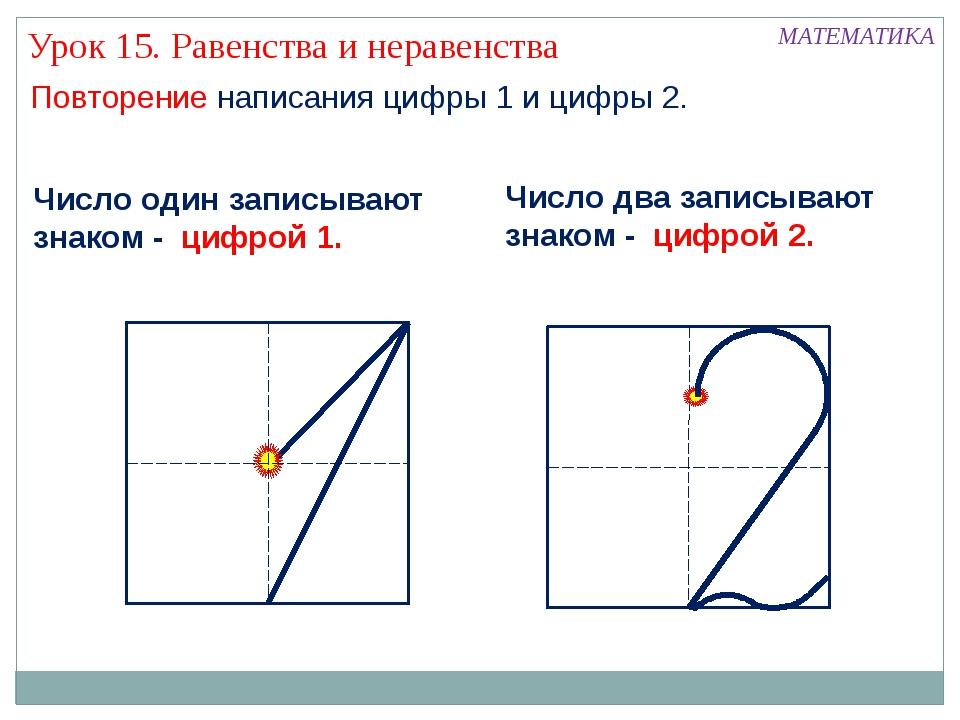 Повторение написания цифры 1 и цифры 2. МАТЕМАТИКА Число два записывают знако...