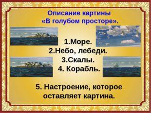 Описание картины «В голубом просторе». 1.Море. 2.Небо, лебеди. 3.Скалы. 4. Ко