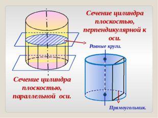 Сечение цилиндра плоскостью, перпендикулярной к оси. Сечение цилиндра плоскос