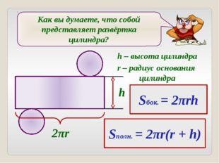 Как вы думаете, что собой представляет развёртка цилиндра? 2πr h Sбок. = 2πr