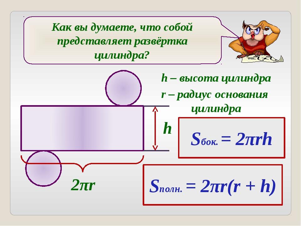 Как вы думаете, что собой представляет развёртка цилиндра? 2πr h Sбок. = 2πr...