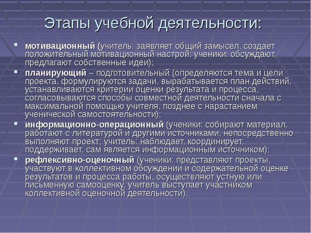 Этапы учебной деятельности: мотивационный (учитель: заявляет общий замысел, с...