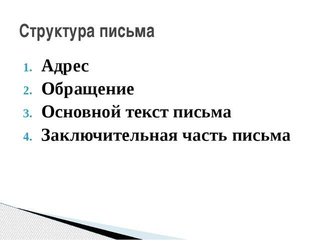 Адрес Обращение Основной текст письма Заключительная часть письма Структура п...