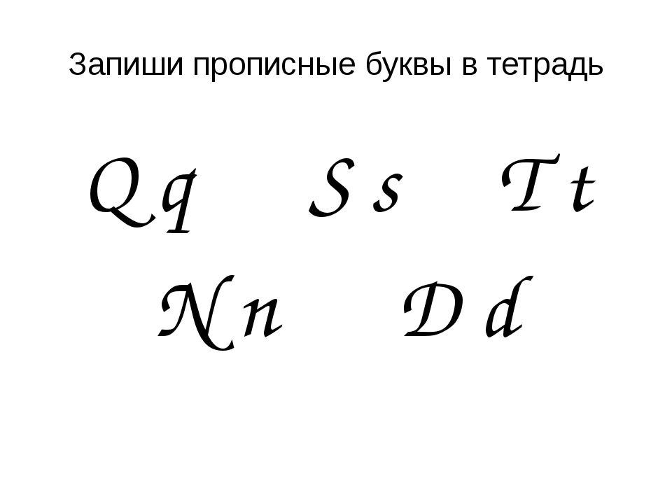 Запиши прописные буквы в тетрадь Q q S s T t N n D d