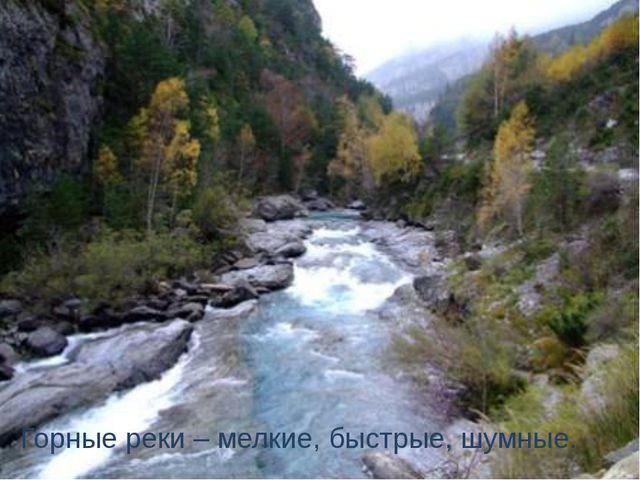 Горные реки – мелкие, быстрые, шумные.