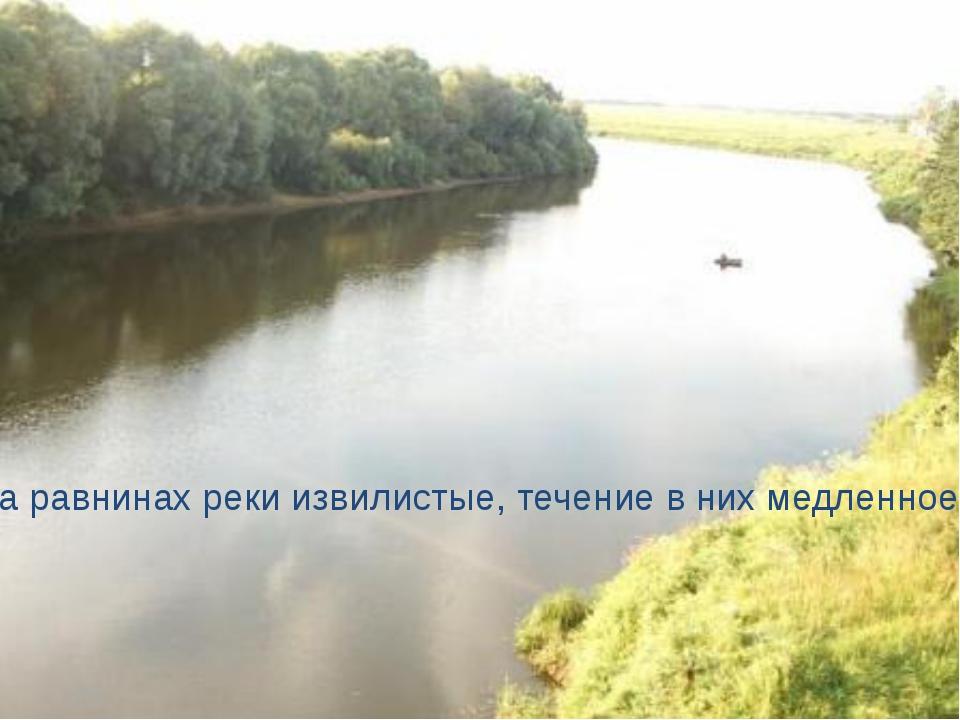 На равнинах реки извилистые, течение в них медленное.