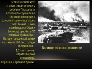 Великое танковое сражение Битва на Курской дуге. 12 июля 1943г на поле у дере