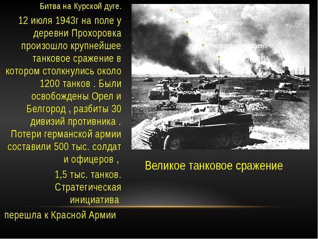 Великое танковое сражение Битва на Курской дуге. 12 июля 1943г на поле у дере...