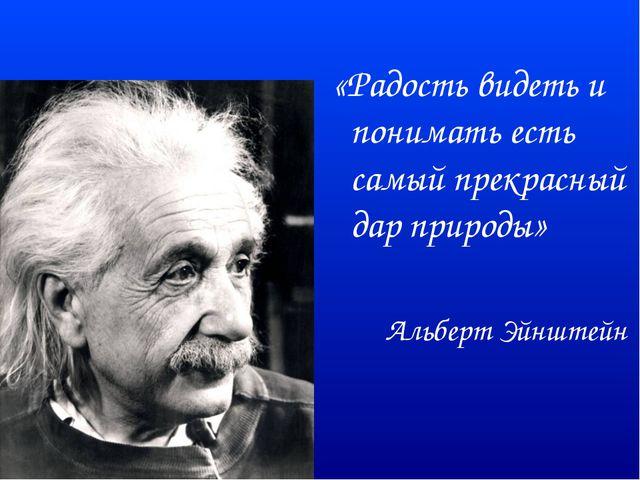 «Радость видеть и понимать есть самый прекрасный дар природы» Альберт Эйнштейн