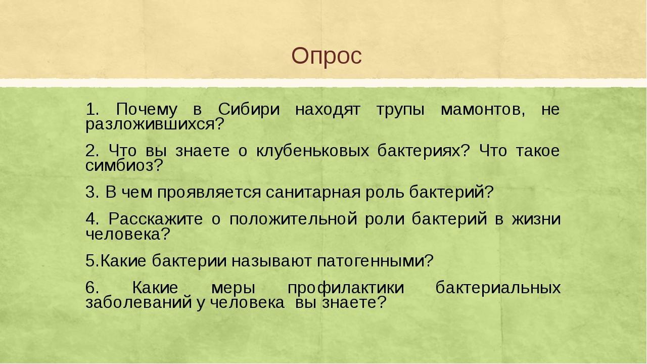 Опрос 1. Почему в Сибири находят трупы мамонтов, не разложившихся? 2. Что вы...
