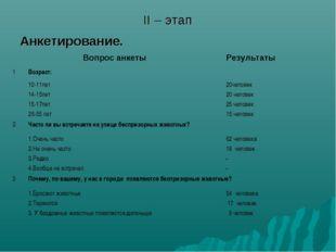 II – этап Анкетирование. Вопрос анкеты Результаты  1Возраст:  10-11лет 1